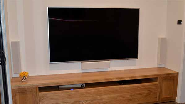 TV mounted on the wall
